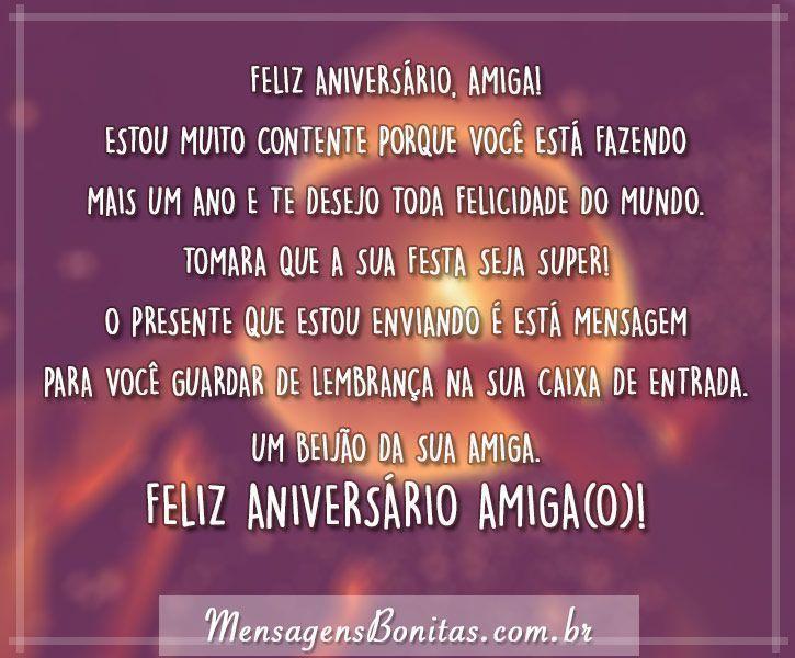 Feliz Aniversário Para Amiga Mensagens Bonitas Frases De Amor