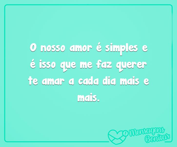 O nosso amor é simples